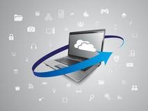Laptop- und Wolkendatenverarbeitung stock abbildung
