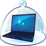 Laptop under blue bell-glass Stock Photography