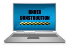 Laptop Under construction /. Realistic grey laptop isolated on background. Vector illustration Royalty Free Stock Photos