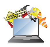 Laptop under construction concept Stock Images