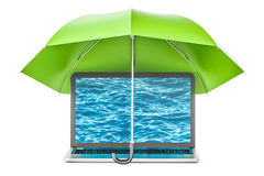 Laptop under umbrella, security and protection concept. 3D rende. Ring isolated on white background Royalty Free Stock Image