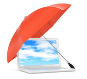 Laptop under umbrella Royalty Free Stock Photos