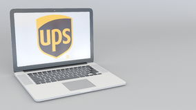 Laptop with United Parcel Service UPS logo. Computer technology conceptual editorial 3D rendering Royalty Free Stock Photography