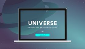 A laptop with a universe graphic royalty free illustration
