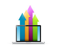 Laptop and up business color arrows illustration Stock Images