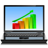 Laptop with up-growing graph Royalty Free Stock Photo