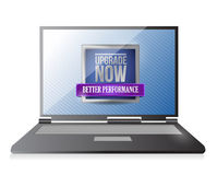 Laptop with an upgrade now illustration design Stock Photo