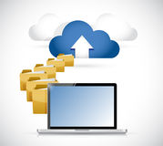 Laptop uploading info to cloud. cloud computing Stock Images