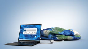 Laptop uploading kulę ziemską ilustracja wektor