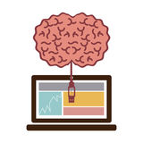 laptop and usb connected to brain Stock Photo