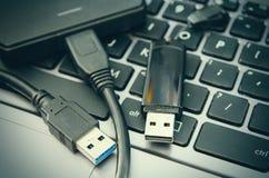 Laptop and usb Stock Photos