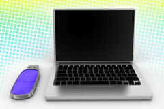 Laptop and a Usb Pen drive In Halftone Background Royalty Free Stock Photos