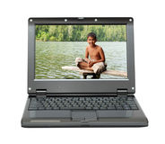 Laptop with vacations theme Royalty Free Stock Photo