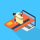 Laptop van de het Overleg Online Betaling van de vrouwencliënt Computer met Creditcard 3d Isometrisch Stock Afbeelding