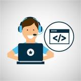 Laptop van de karakterhoofdtelefoon codage vector illustratie