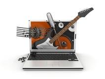Laptop van de muziek vector illustratie