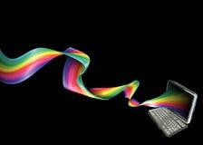 Laptop van de regenboog achtergrond Stock Afbeeldingen