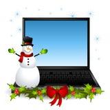 Laptop van de sneeuwman Computer royalty-vrije illustratie