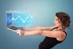 Laptop van de vrouwenholding met financieel concept stock foto's