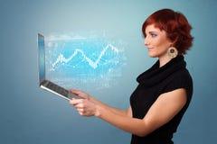 Laptop van de vrouwenholding met financieel concept vector illustratie