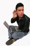Laptop van de zakenman raad Stock Foto's