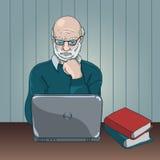 Laptop van Granfather Royalty-vrije Stock Afbeeldingen