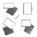 Laptop van PC van de tablet op witte achtergrond Stock Afbeelding