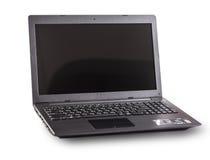 Laptop van zwarte kleur op witte achtergrond Royalty-vrije Stock Afbeeldingen