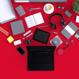 Laptop with variety blank office objects organized for company presentation or branding identity with blank modern devices. Mockup  on clear background. Top Stock Photos