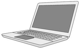 Laptop. Vector of bright open laptop computer Royalty Free Stock Image