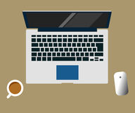 Laptop vector flat design illustration of workspace creative concept Stock Image