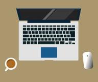 Laptop vector flat design illustration of workspace creative concept. Laptop vector flat design illustration of workspace on brown background creative concept Stock Image