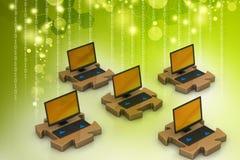 Laptop verbindt in raadsels Stock Afbeelding