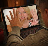 Laptop Video Camera People Chatting Stock Image