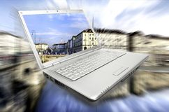 Laptop virtual journey royalty free stock images