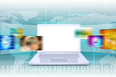 Laptop and virtual tape with world map. Laptop and wide virtual tape with colorful pictures on abstract background with world map Stock Photos