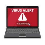 Laptop and virus alert message on screen. Stock Photos