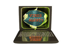Laptop with virus alert words Stock Photos