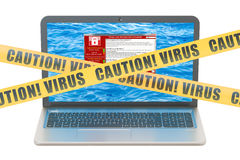 Laptop with virus, 3D rendering Royalty Free Stock Photography