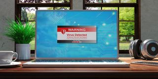 Laptop with virus detected screen on wooden desk at home. Beautiful blurred nature background. 3d illustration. Laptop with virus detected screen and silver Stock Photos