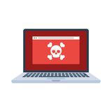 Laptop with virus Royalty Free Stock Photography