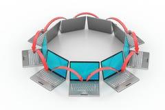 Laptop voorzien van een netwerkcirkel Stock Afbeelding