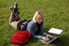 Laptop vrouw Royalty-vrije Stock Afbeelding