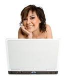 Laptop Vrouw Stock Afbeelding