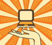 Laptop w ręce ilustracji