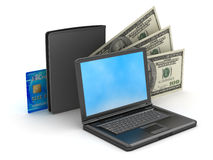 Laptop, wallet, credit card and dollar bills Stock Image