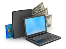 Laptop, wallet, credit card and dollar bills royalty free stock image