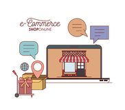 Laptop with wallpaper inside of store house and freight cart with gift e-commerce shop online on white background. Vector illustration stock illustration