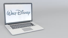 Laptop with Walt Disney Pictures logo. Computer technology conceptual editorial 3D rendering Stock Images