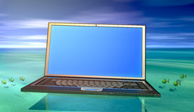 Laptop in water Royalty-vrije Stock Foto